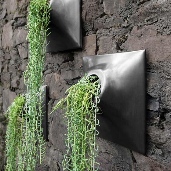 outdoor black ceramic wall planters