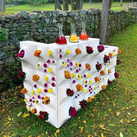 white ceramic wall planters for flower bar