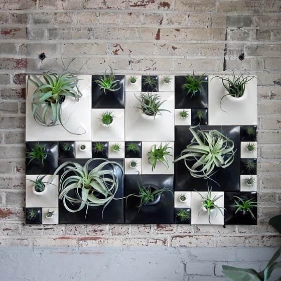 black and white ceramic wallscape planters