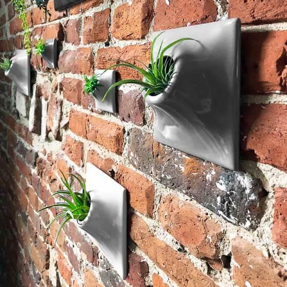 gray ceramic wallscape planter set