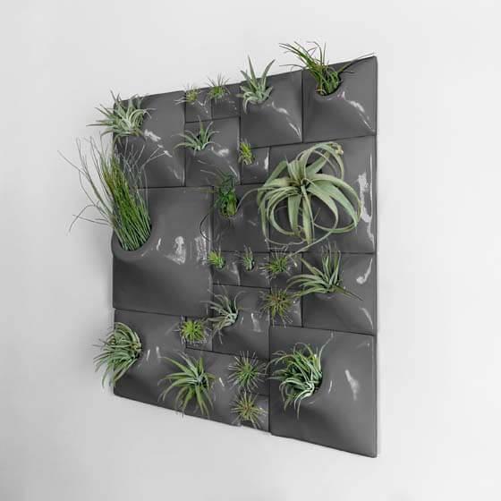 gray ceramic wall plantes for plant wall