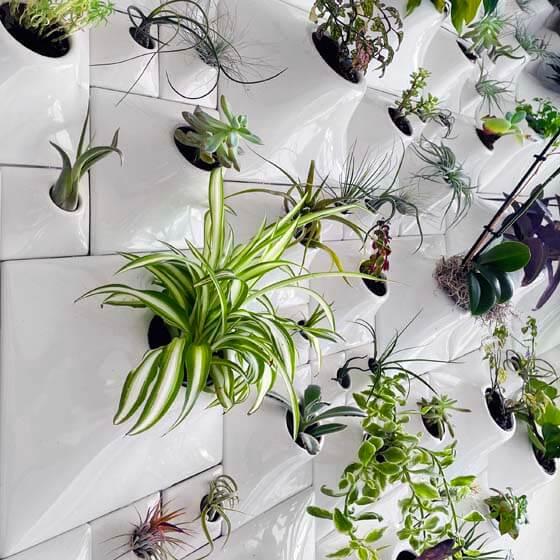 white wallscape planters