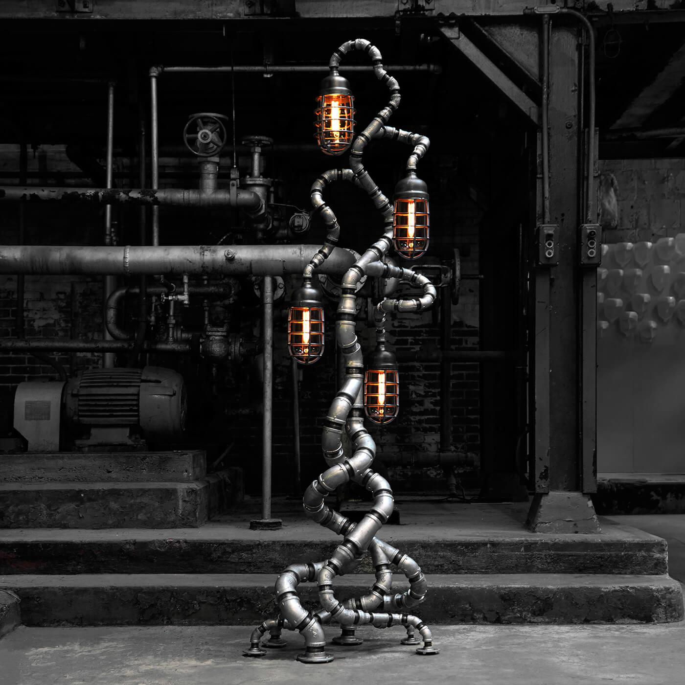 industrial floor lamp with edison light bulbs