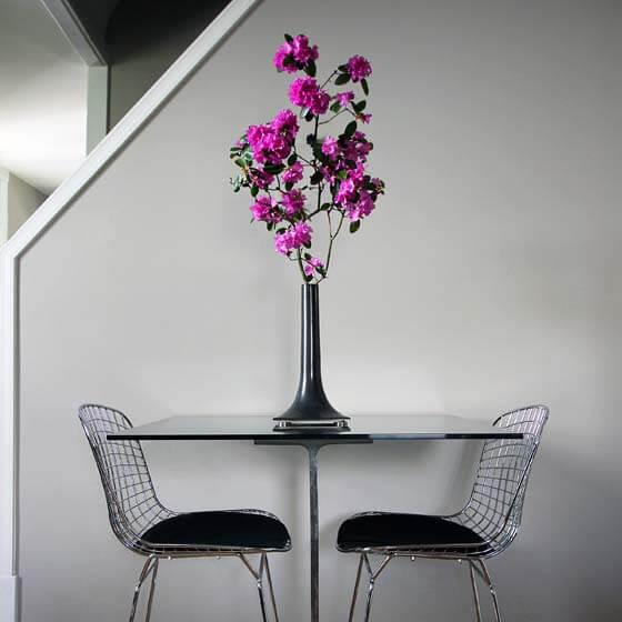 black ceramic table vase