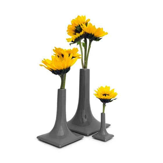 luxury dark gray ceramic vase set