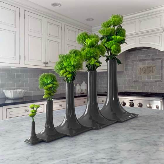 dark gray modern ceramic vase set
