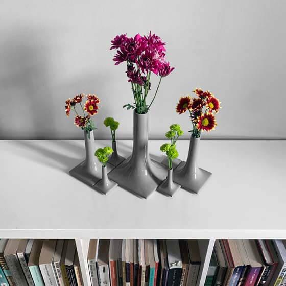 gray ceramic vase arrangement