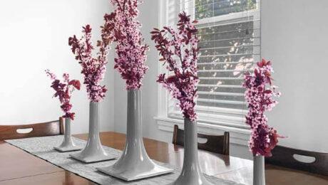 gray ceramic vases tablescape