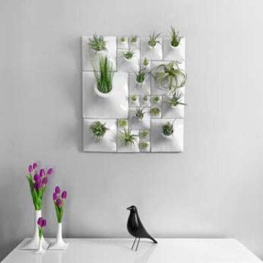 white ceramic wall planters and white ceramic vases