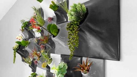 grey ceramic wall planters