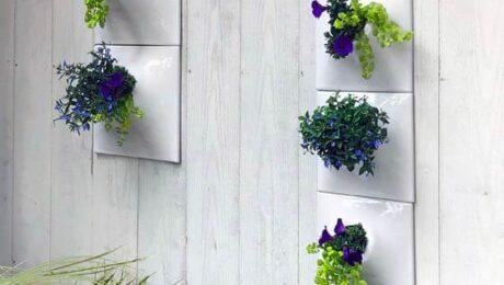 white ceramic outdor wall planters