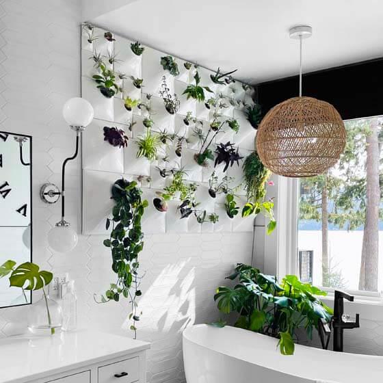 white ceramic planter living wall